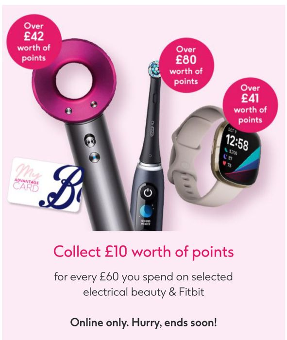 Collect £10 worth of Points Every£60 Spend on Selected Electrical Beauty ,Fitbit