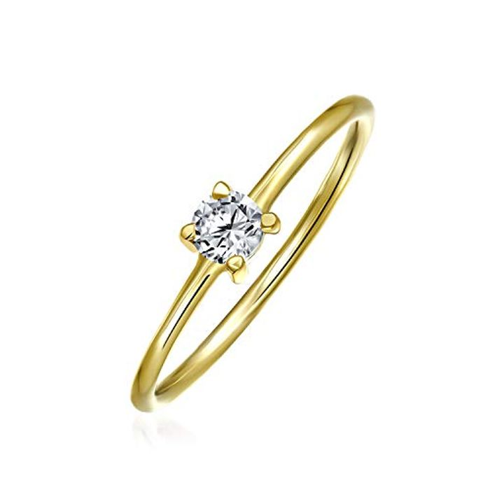 Delicate Geometric Solitare Cubic Zirconia Gold Plated Ring with £6 off Coupon