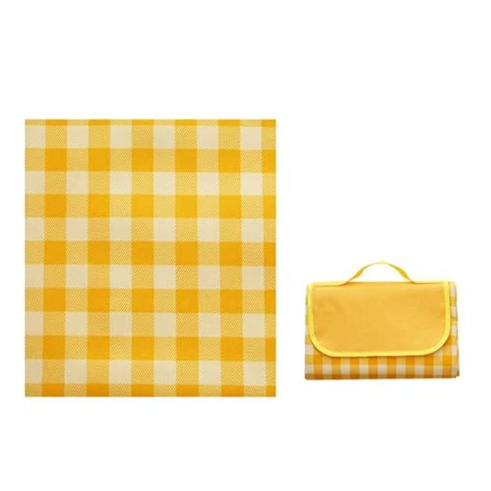 Portable Large Waterproof Foldable Picnic Mat (Yellow White) - Only £14.59!