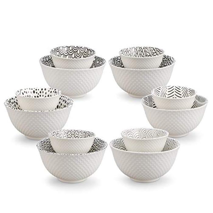 12-Piece Porcelain Textured Print Bowl Set