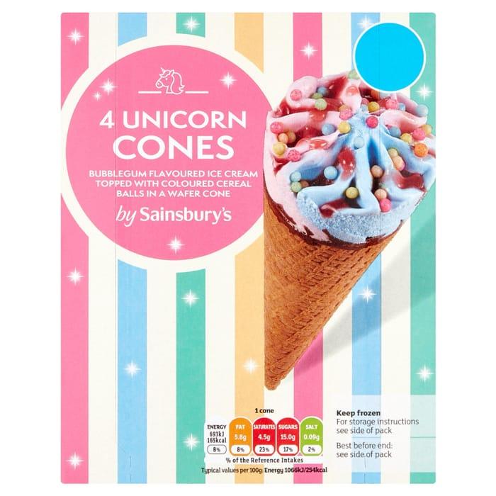 Sainsbury's Unicorn Cones 4x110ml