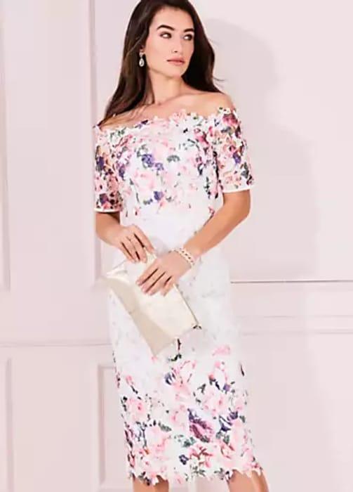 Printed Lace Bardot Dress