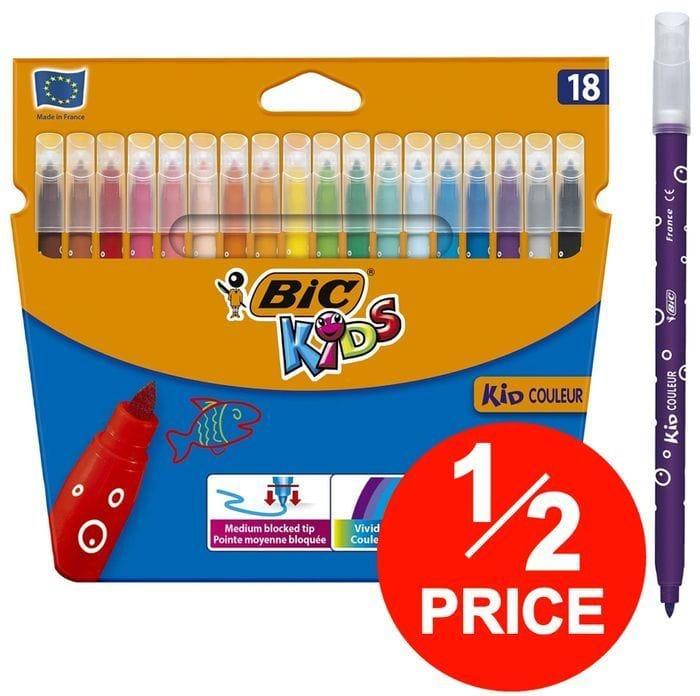 18 BIC Kids Washable Felt Tip Colouring Pens - HALF PRICE!