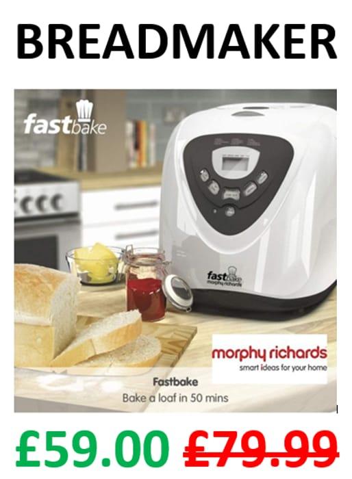 CHEAP! Morphy Richards Fastbake Breadmaker (48281) 3 Loaf Sizes