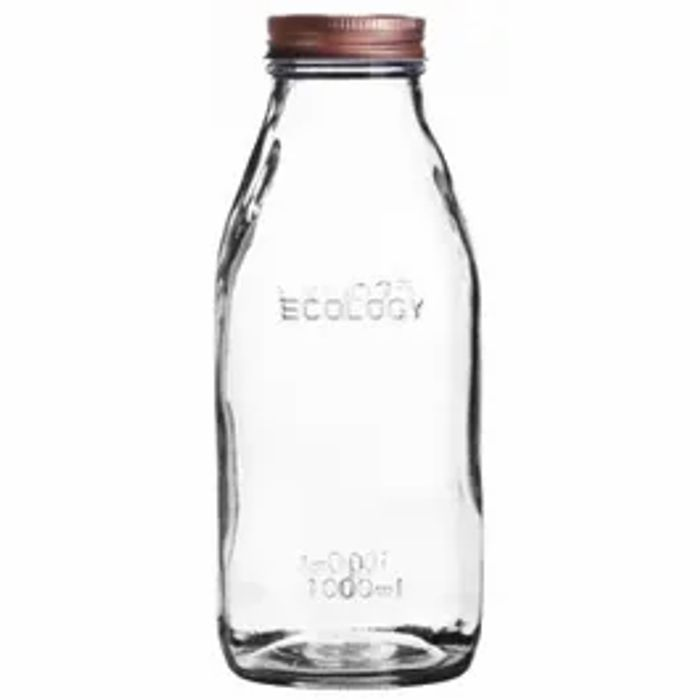 Round Glass Bottle with Copper Lid 1L