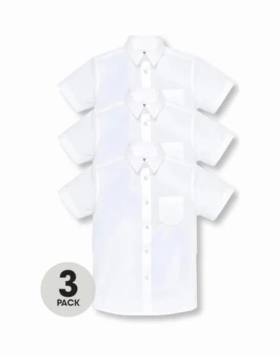 Boys 3 Pack Short Sleeved School Shirts - White