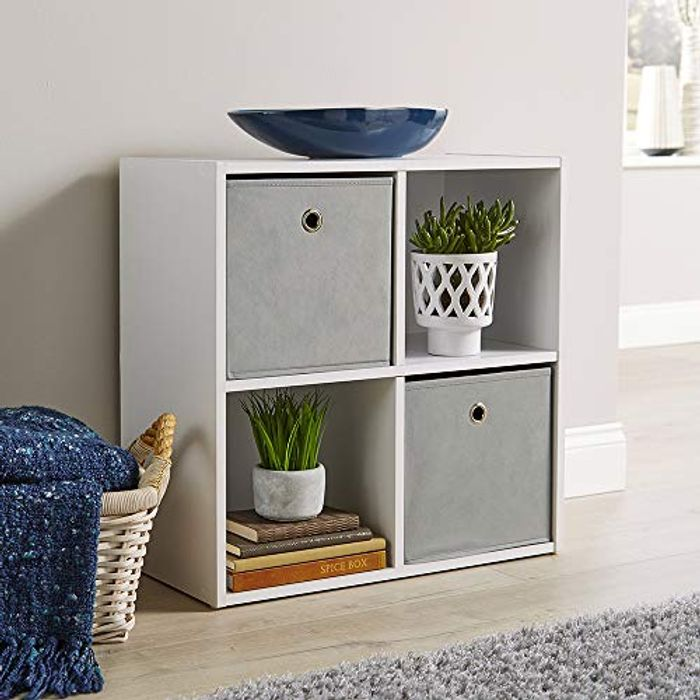 Home Source Storage Cube 4 Shelf Bookcase Wooden Display Unit