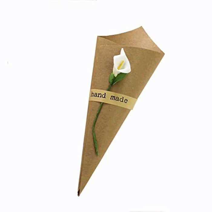 100 Pcs Wedding Confetti Cones, Retro Kraft Paper