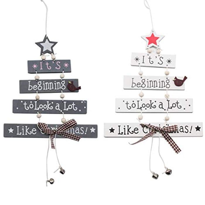 Kungfu Mall Christmas Decorations Sale Clearance, 2Pcs Christmas Wood Tree