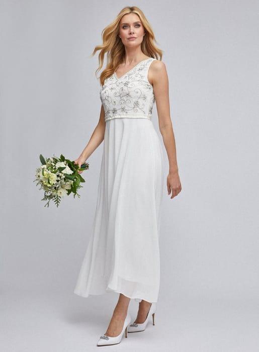 Eva off White Bridal Midi Dress