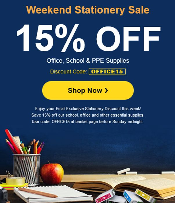 15% off Office, School & PPE Supplies