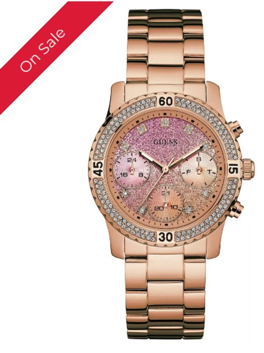 Guess Ladies' Crystal Rose Gold Plated Bracelet Watch
