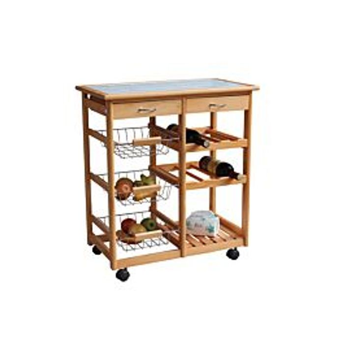 Cheap Double Kitchen Trolley with Ceramic Tile Top - Only £49.99!