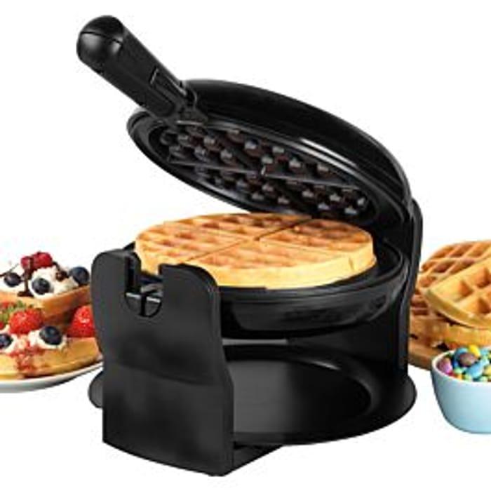 *SAVE £30* Progress 1000W Rotary Non- Stick Waffle Maker - Black