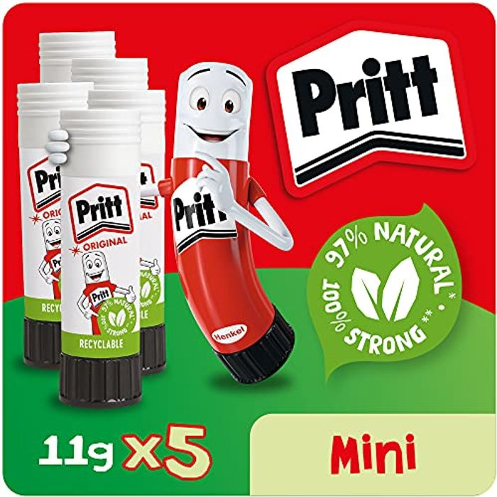 5 Pritt Glue Stick, Safe & Child-Friendly Craft Glue for Arts & Crafts