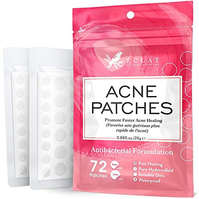 Acne Patches with Vegan Hydrocolloid (72pk.) with Anti-Bacterial Tweezers