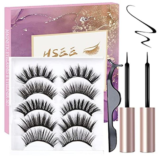 5 Pairs Magnetic Eyelash Kit + 2 Eyeliners