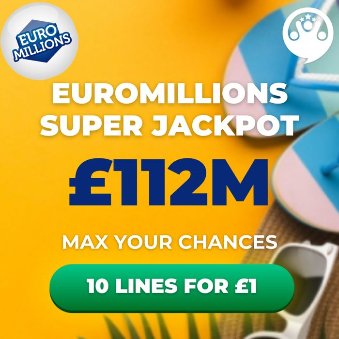 Euromillions £112 Million Jackpot - 10 Lines for Just £1 with Lottosocial