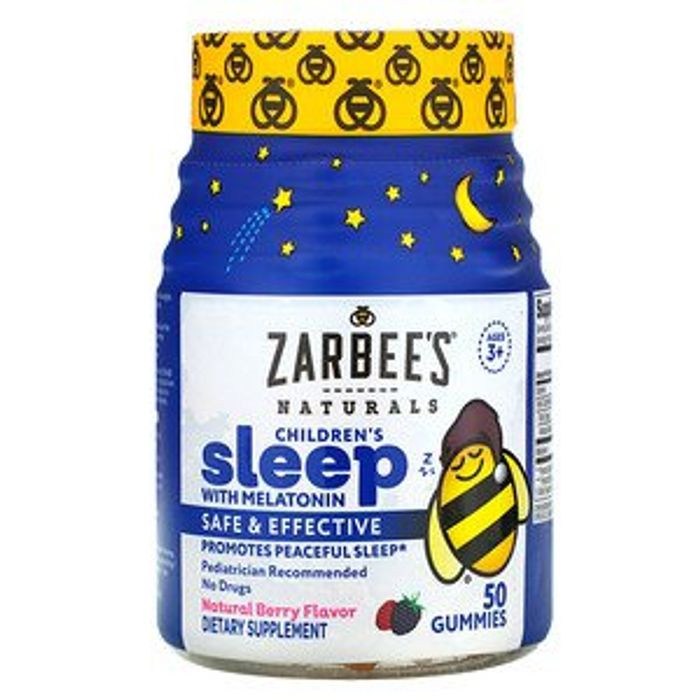 Zarbee's,Kids Sleep with Melatonin, Natural Berry Flavor, Ages 3+, 50 Gummies