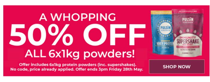50% Off All 6 X 1KG Protein Powders