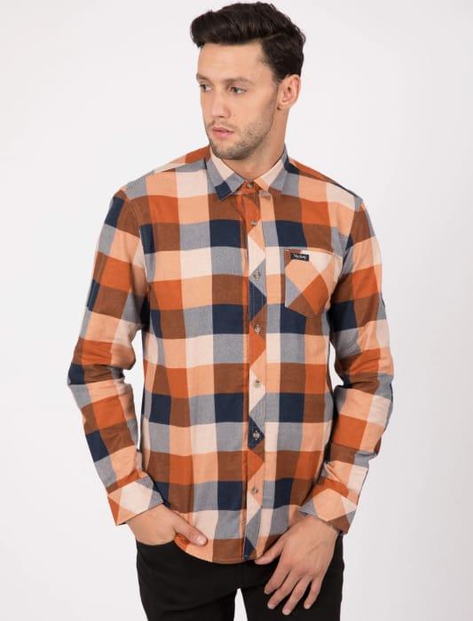 Stratford Checked Cotton Flannel Shirt in Burnt Orange
