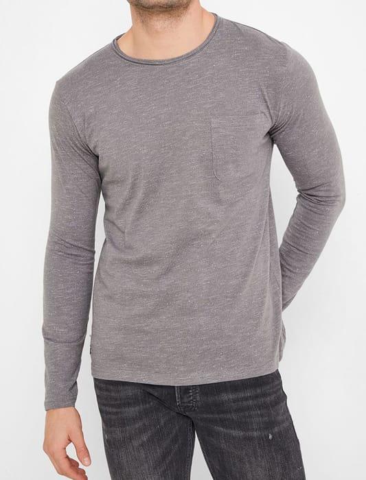 Jack Slub Cotton Jersey Long Sleeve Top with Chest Pocket in Castlerock -