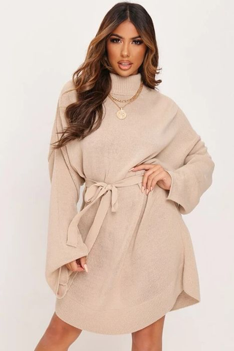 Stone Knitted Belted Dress at I Saw It First