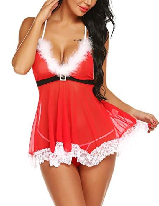 RSLOVE Women's Sexy Santa Christmas Sleepwear Lingerie Set - Only £2.8!