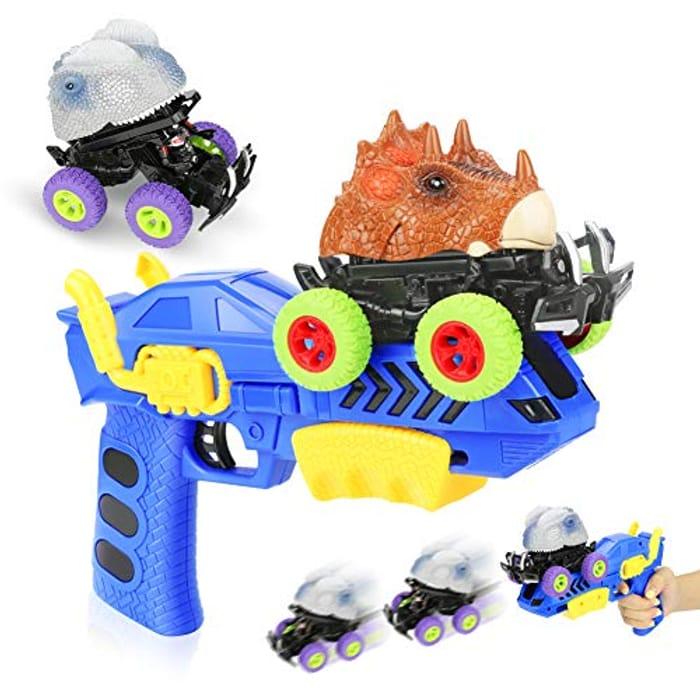 Prime Price - Welltop Dinosaur Toy Blaster with 2 Cars + 1 Gun
