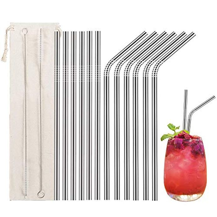 12 Pcs Stainless Steel Straws + 2 Cleaning Brushes