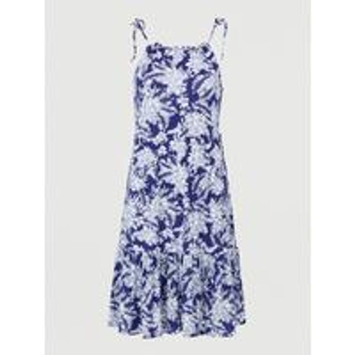 Tiered Jersey Tie Shoulder Short Dress - Navy Print