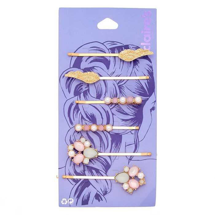 Rose Gold Pearl Wings Hair Pins - 6 Pack