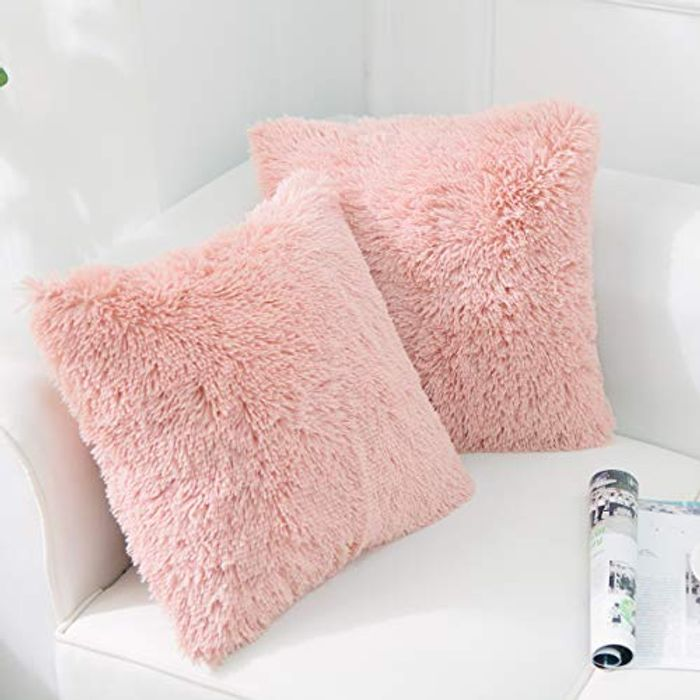 NordECO HOME Faux Fur Throw Pillow Cover, Pack of 2 - Only £5.46!