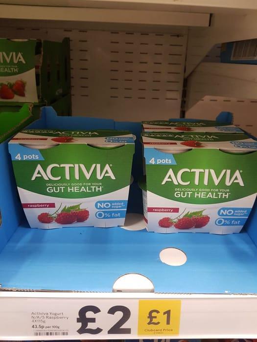 Activia Strawberry No Added Sugar Yogurt 4 X 115G