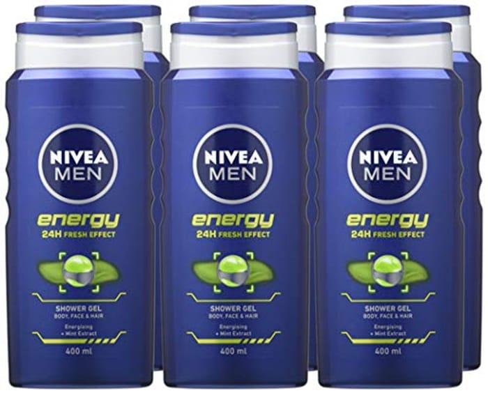 NIVEA MEN Shower Gel Energy / Sensitive (6 X 400 Ml Large Bottles) - from £8.94