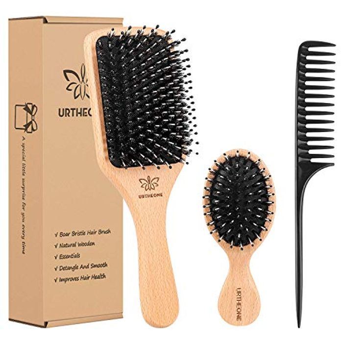DEAL STACK - Boar Bristle Wooden Paddle Hair Brush and Comb Set + £2 Coupon