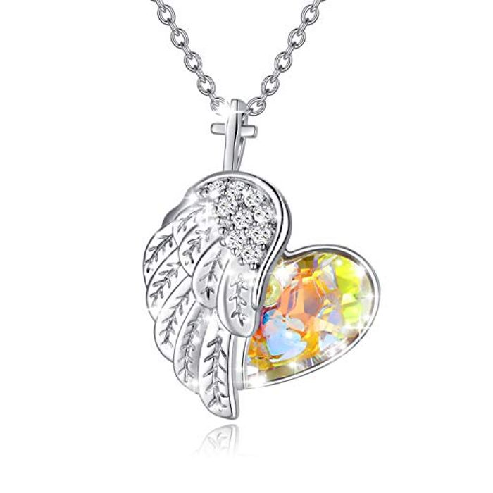 Angel Wings 925 Sterling Silver Crystal Heart Necklace for Women - Only £10.08!