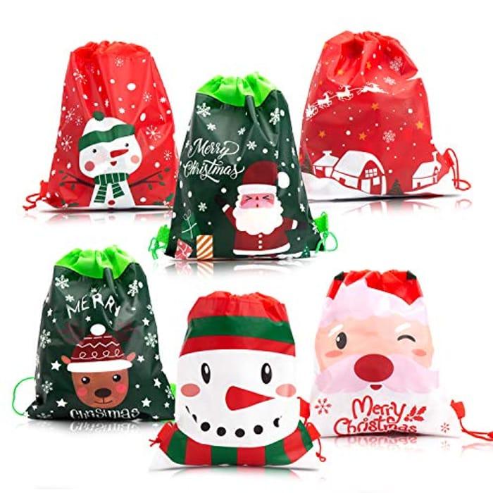 12pc Christmas Gift Bags 10 X 14ins