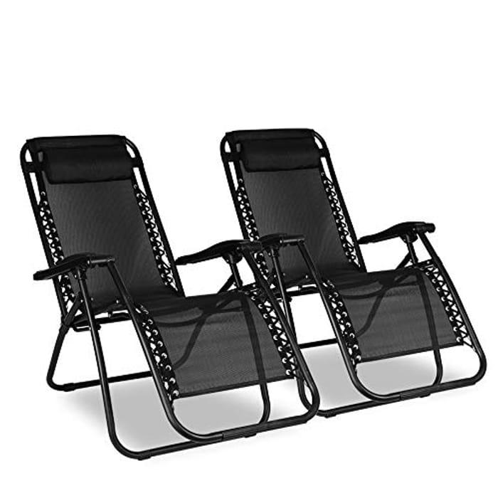 2x Sunloungers, Bigzzia Folding Recliner Garden Chair Leisure Beach Chair