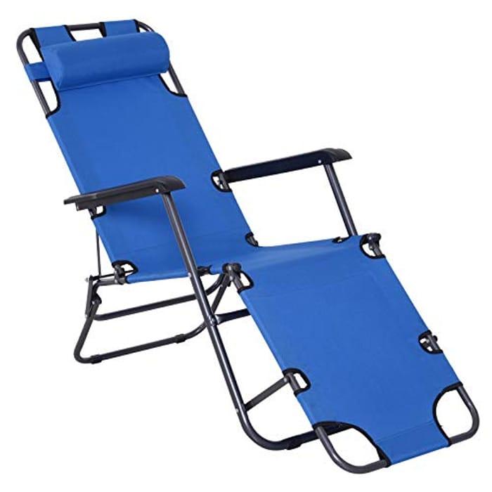 Outsunny 2 in 1 Sun Lounger Folding Reclining Chair Garden Outdoor Camping