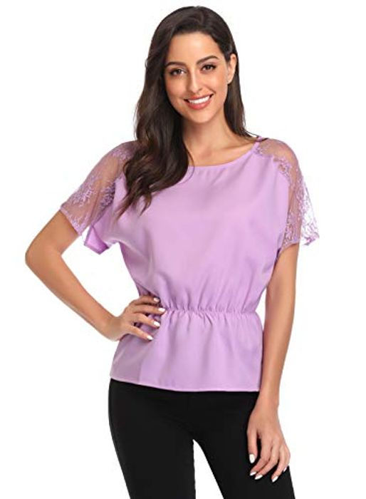 Ihot Women's Loose Casual Lace Short Sleeve Chiffon T-Shirt with £5 off Coupon