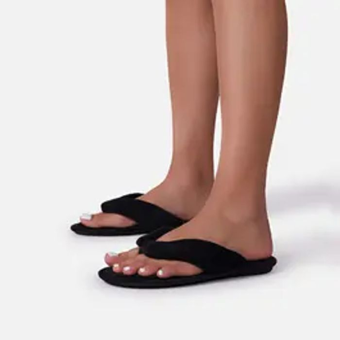 The-Breeze Thong Strap Flat Slider Sandal in Black Terry Cloth Fabric