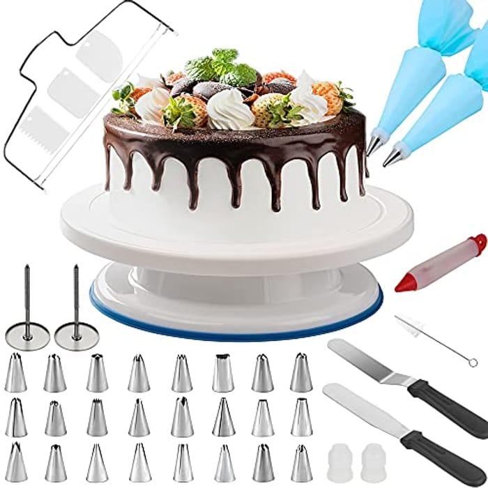 Grandma Shark 11 Inch Cake Turntable and 39 Pcs Decorating Supplies