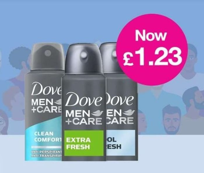 Daily Deal Now £1.23 on Dove Men Anti-perspirant Deodorant 150ml Members Only