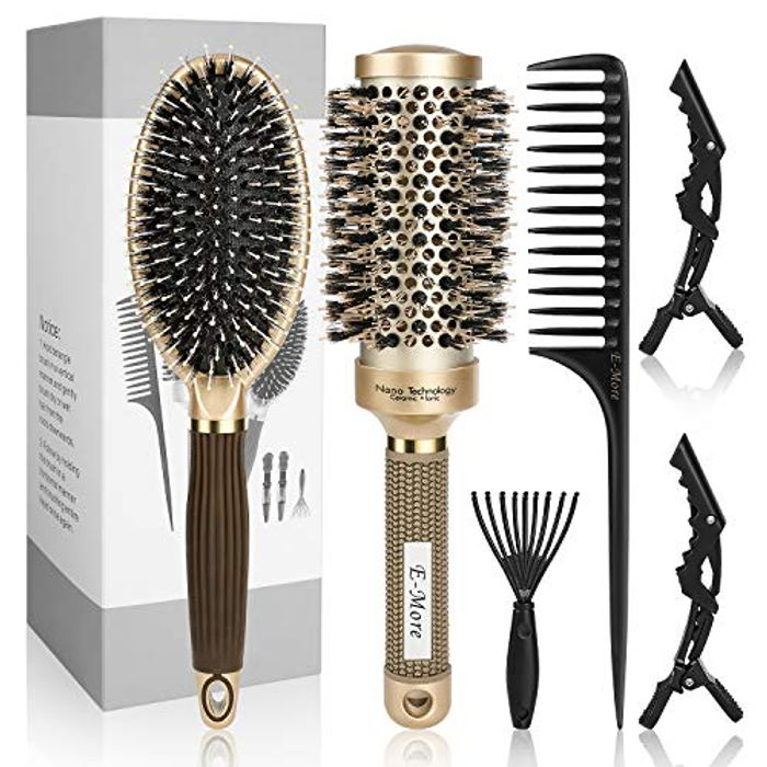 E-More round Hair Brush with Natural Wild Bristles Hairbrush Set - Only £9.99!