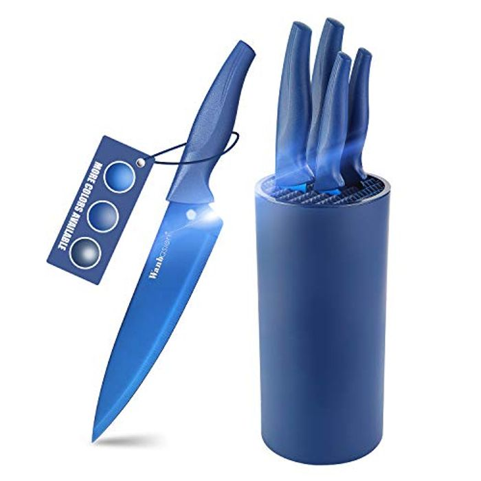 Wanbasion Professional Blue Kitchen Knives Block Set - Only £15.99!