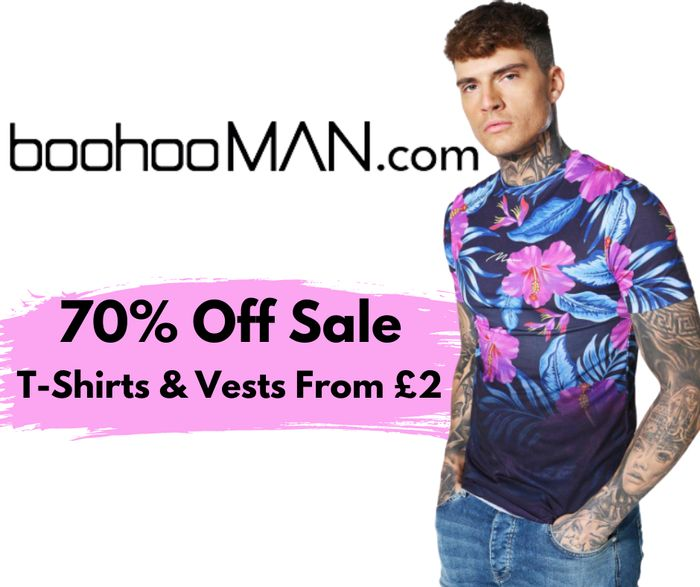 boohooMAN Up To 70% Off Sale - Inc. T-Shirts & Vests From £2!