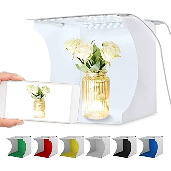 Portable Folding Photography Lightbox with Dual LED Strip and 6 Colour Backdrops