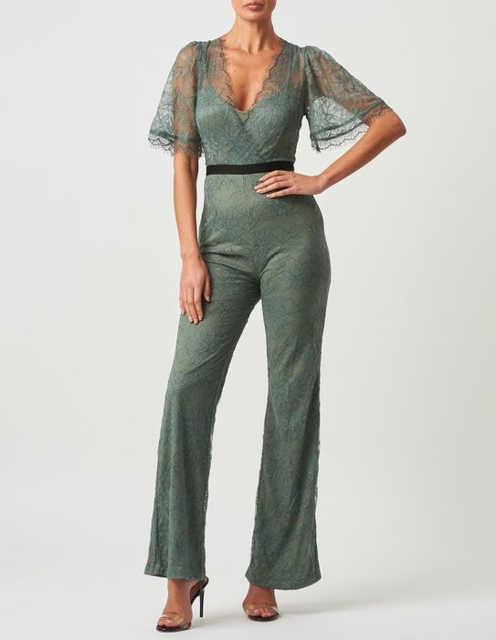 Sage Green Lace Jumpsuit with Contrast Waistband