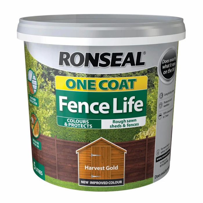 Half Price on Ronseal One Coat Fence Life 5L- Choice of Colours